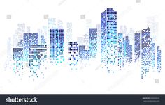 City scene on night time, cityscape blue pattern on white background Building Illustration, City Illustration, Sketch Note, Origami Architecture, Building Images, City Scene, City Buildings, Vector Background, Vector Design