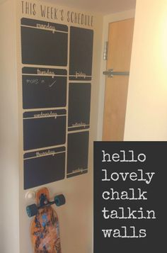 Wallternatives chalkboard wall decals for dorm decor or office decorating with organization - Decorated by Hello Lovely Studio