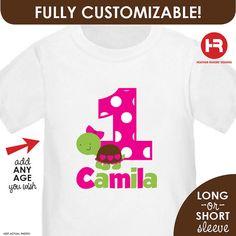 Turtle Birthday Shirt Personalized Girls  by HeatherRogersDesigns,