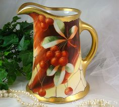 SPECTACULAR Limoges Pickard Hand Painted & Signed Pitcher Cherries