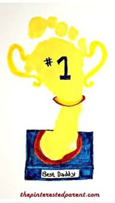 Footprint Trophy card & craft for dad for Father's day. Kid's art's and craft gift ideas
