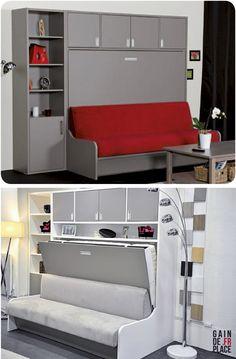 Canapé - lit escamotable distribué par gaindeplace.fr  Rangement astucieux et personnalisation possible.