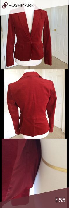 """🆕Listing Talbots red Velvet Jacket This features a gorgeous red velvet fabric with notched lapel, breast pocket, 2 front flap pockets & single button closure. Fitted & shaped styling. Dress it up or down. I love it with jeans for an understated look. 35"""" bust 30"""" waist if buttoned 35"""" hip if buttoned length from shoulder 22.5"""". 98% cotton 2% spandex. Polyester lining. Excellent pre owned condition 🎀Bundle discount  🚭Smoke free home 🚫No trades please  😍 Thank you for shopping with me…"""