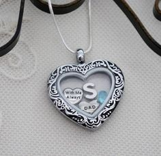Dad Heart Necklace, Dad Heart Locket, Dad Necklace, Letter Birthstone, Personalized, With Me Always Necklace, Dad Remembrance Gifts, Custom