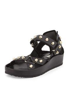 Studded Flat Leather Sandal, Noir by Balenciaga at Neiman Marcus.