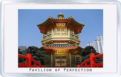 Acrylic Fridge Magnet: Hong Kong. Pavilion of Perfection. Nan Lian Garden. Diamond Hill. Kowloon