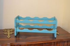 Wine Rack Towel Rack Turquoise Aqua Blue Wood by LittlestSister, $21.50