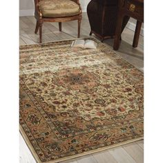 Nourison 3'6 inch x 5'6 inch Persian Arts Ivory/Gold Rectangle Area Rug, Beige