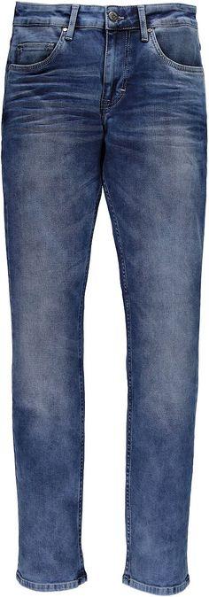 Schmal geschnittene Jeans mit hoher Leibhöhe und schmalem Beinverlauf. Ideale Form für jede Altersgruppe. Dies hat tolle Used-Effekte und 3D Sitzfalten. 66 % Baumwolle, 20 % Polyester, 11 % Viskose, 3 % Elasthan....