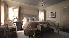 Jeff Lewis Bedroom - Note the color of ceiling is gray while walls are taupe