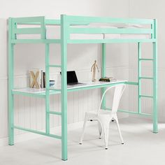 Walker Edison BTSQTOZMT Bentley Twin Metal Loft Bed Workstation Mint Powder Coated Steel
