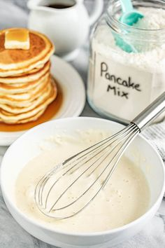 Easy Homemade Pancake Mix (Just add water!) – Easy Homemade Pancake Mix (Just add water! Easy Pancake Batter, Pancake Mix Uses, Easy Homemade Pancakes, Pancakes Easy, Breakfast Dishes, Breakfast Recipes, Pancake Recipes, Eggless Recipes, Easy Cooking