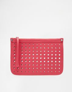 Love Moschino Cut Out Heart Clutch Bag in Pink