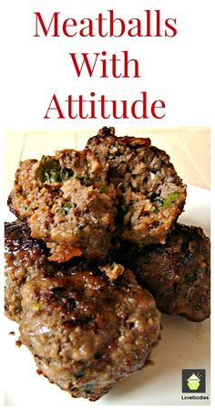 Meatballs With Attitude! Here I've used some great ingredients to keep these super moist and of course really packed with flavor. Great to serve as party food or have as a dinner with some mash and gravy! | Lovefoodies.com