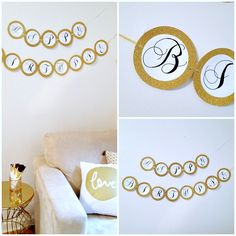 DIY Black, White, and Gold Birthday Banner / Shoes Off Please