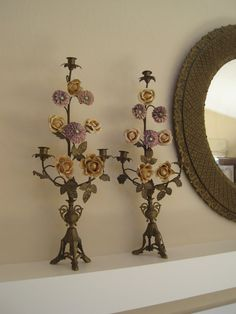 PAIR Antique French Candelabra  Altar Candlesticks Candle Holders Brass With Porcelain Flowers Tall