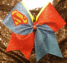 Bows by April - Super Hero Red and Blue Glitter Superman Cheer Bow, $17.00 (http://www.bowsbyapril.com/super-hero-red-and-blue-glitter-superman-cheer-bow/)