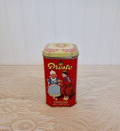 Droste Cocoa Vintage Tin Haarlem Holland Made in England Dutch Canister Knick Knack Container Trinket Tin Shabby Chic Cottage Kitchen Decor by injoytreasures on Etsy