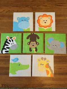 12 inch square canvas wall hangings for baby's room. Jungle animal designs stitched and quilted then stretched over canvas. Coordinates with quilt. Nursery Room Decor, Nursery Prints, Nursery Art, Baby Painting, Painting For Kids, Kids Room Paint, Square Canvas, Baby Shower Activities, Jungle Animals