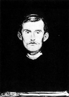 Edvard Munch Self-portrait I, 1895 - 1896, lithography on paper, 58.3 x 43 cm, MoMA.