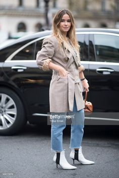 Miroslava Duma seen in the streets of Paris during the Paris Fashion Week Womenswear Spring/Summer 2018 on October 2, 2017 in Paris, France.