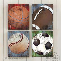 Sports Canvas Wall Art , Set of 4 Canvas Art - Sports Room Decor - All Star Boy Room Decor, 4 Piece Canvas Art