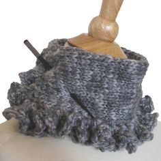 Knit Crochet Cowl Scarf Collar Titanium Gray Wool Radical Ruffles. $45.00, via Etsy.
