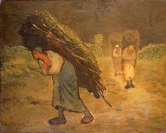 Winter - The Faggot Gatherers. This stark image of rural hardship depicts three heavily laden women returning in the darkness from collecting firewood. The subject is one which Millet revisited in sketches over the course of several years. This painting, however, remained unfinished. It is possible that it represented 'Winter' in a group of the four seasons. Millet painted over a female portrait which is partly visible on the right.