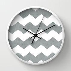 chevron - gray Wall Clock