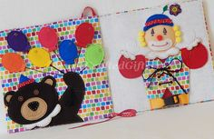 This fun, handmade toy for little kids is a great gift idea. Also creative ideas for your own felt quiet book page.  Children learn to tie a bow, buckle, use snaps, and match colors. #AnneCraftedGifts