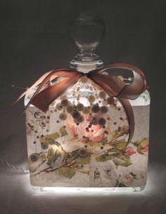 Peach Rose Collage Perfume Bottle Nightlight ( Night Light )