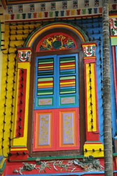 Indian colorful door with lights