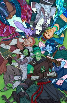 'Mighty Nein Cuddlepile' Poster by jakface Critical Role Characters, Critical Role Fan Art, Critical Role Campaign 2, Vox Machina, D&d Dungeons And Dragons, Fantasy Art, Character Design, Character Art, Character Ideas