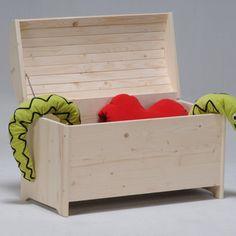 Coffre � jouets bois sapin avec abattant anti-pincement des doigts ISAAC