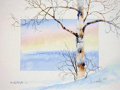 ORIGINAL WATERCOLOR PAINTING; art, winter scene, birch tree, wall art, sunrise, morning by OriginalSandMore on Etsy