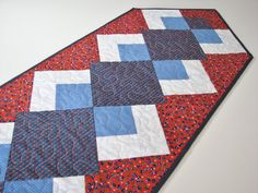 Quilted Table Runner  Americana Patriotic Table by VillageQuilts