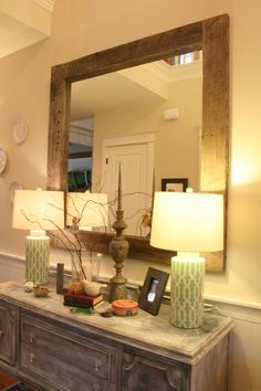 love love love the lamps so pretty. barnwood mirror and add your own pictures to make it feel more like home.