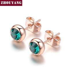 간단한 녹색 크리스탈 OL 스타일 골드 도금 스터드 귀걸이 다채로운 선물 남성 도매 최고 품질의 ZYE633
