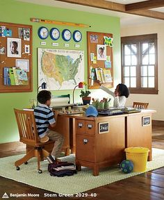 Neat study room for kids.  Could see another version of this working nicely for adults.  Things to incorporate in a good study area-    Good lighting  shelves for storage  cork-board  chalkboard  study supplies  fresh air- either from a window or fan  comfortable chair  good surface to spread papers out on.