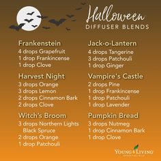 Halloween is coming! Prep your home with the smell of essential oils! Fall Essential Oils, Essential Oil Diffuser Blends, Essential Oil Uses, Young Living Essential Oils, Essential Oil Combinations, Back To Nature, Motivation, Diffuser Recipes, Halloween Magic