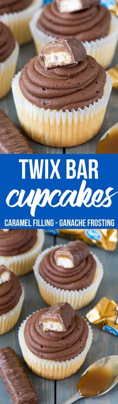 Easiest ever TWIX Cupcakes! This easy cupcake recipe fills vanilla cupcakes with caramel and tops them with a chocolate ganache frosting like a Twix Candy Bar! via (twix cake birthday) Twix Cupcakes, Yummy Cupcakes, Cupcake Cakes, Vanilla Cupcakes, Buttercream Cupcakes, Gourmet Cupcakes, Cupcake Frosting, Cup Cakes, Köstliche Desserts