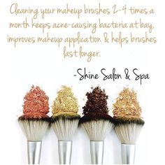 ✨SHINE✨ beauty tip 💧💧💧 --When was the last time you cleaned your brushes? Dirty brushes carry dirt, grime & bacteria that can wreak havoc on your skin, aggravating problem areas & compromising your complexion. They can be a breeding ground for bacteria. 3 dangers you can avoid with weekly, bi-weekly or monthly  cleaning include: Clogged Pores, Inflammation/Irritation, & Damaged Tools. #shinesalonspa #shinesalonandspa #saturdayshinebeautytip #beauty #youngblood #flawless