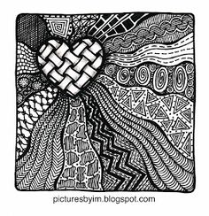 *My Small Stones: Zentangle- love the way the heart pops out of the rest of the picture. Dibujos Zentangle Art, Zentangle Drawings, Doodles Zentangles, Doodle Drawings, Doodle Art, Doodle Patterns, Zentangle Patterns, Coloring Books, Coloring Pages