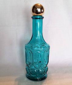 AVON aqua blue cut glass decanter, Moon and Stars, Breath Fresh mouthwash bottle, vintage, 1970s by KathleenNCo on Etsy