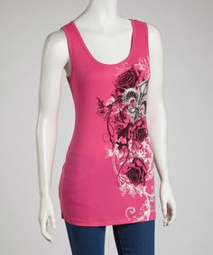 Take a look at this Hot Pink Rhinestone Fleur-de-Lis Tank on zulily today!