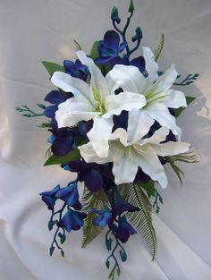 Lauren's Silk Cascade Bridal Bouquet with White Casa Blanca Lilies, Blue Orchids and Fern