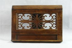 Antique C19th Wooden Book Rest, Folding Music Stand; Pierced Fretwork: 45x34cm