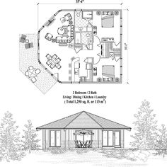 Patio Collection PTE-0324 (1250 sq. ft.) 2 Bedrooms, 2 Baths
