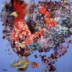 Renaissance  - GAGNON  #Art #artwork #artgallery #Galeriedart #Artist #Artiste #Painting #Peinture #homedecor Renaissance, Artgallery, Galerie D'art, Art Abstrait, Rooster, Artwork, Painting, Animals, Toile