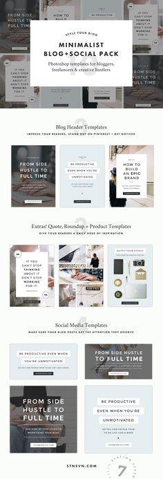 Minimalist Social + Blog Pack. Say hello to gorgeous, minimalist graphics that hook your readers. Create the perfect templates for your Pinterest, Instagram, and blog headers and images.